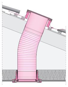 Flexibilis fénycsatorna sík üveges kivitelben SF_